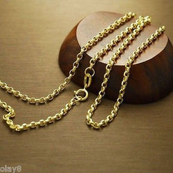 Au750 Real 18K Yellow Gold Necklace 2mm Cable Link Chain 60cm L 24inch