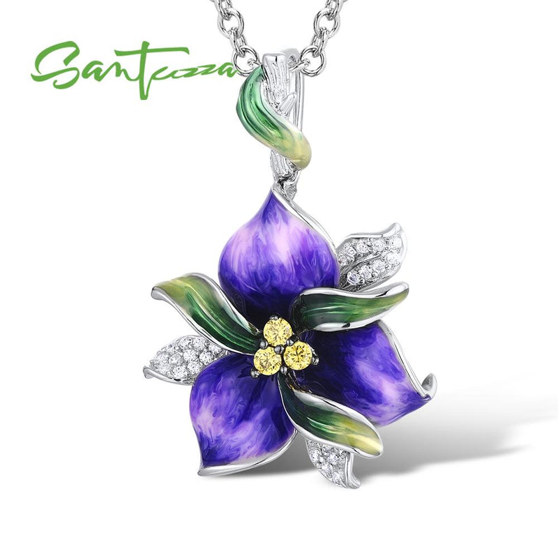 SANTUZZA Jewelry Set For Women 925 Sterling Silver Purple Flower CZ Stones Ring Earrings Pendent Fashion Jewelry HANDMADE Enamel