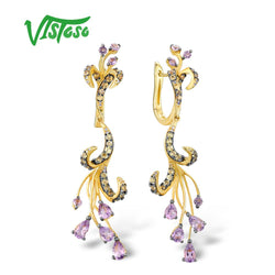 VISTOSO Gold Earrings For Women Pure 14K 585 Yellow Gold Sparkling Diamond Amethyst Yellow Sapphire Unique Wedding Fine Jewelry