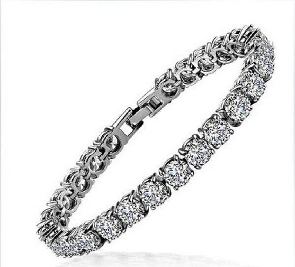 Amazing Quality Round Diamond 18K White Gold Cover Bracelets Bangles for Women Birthday Gift Wholesale Fashion Jewelry
