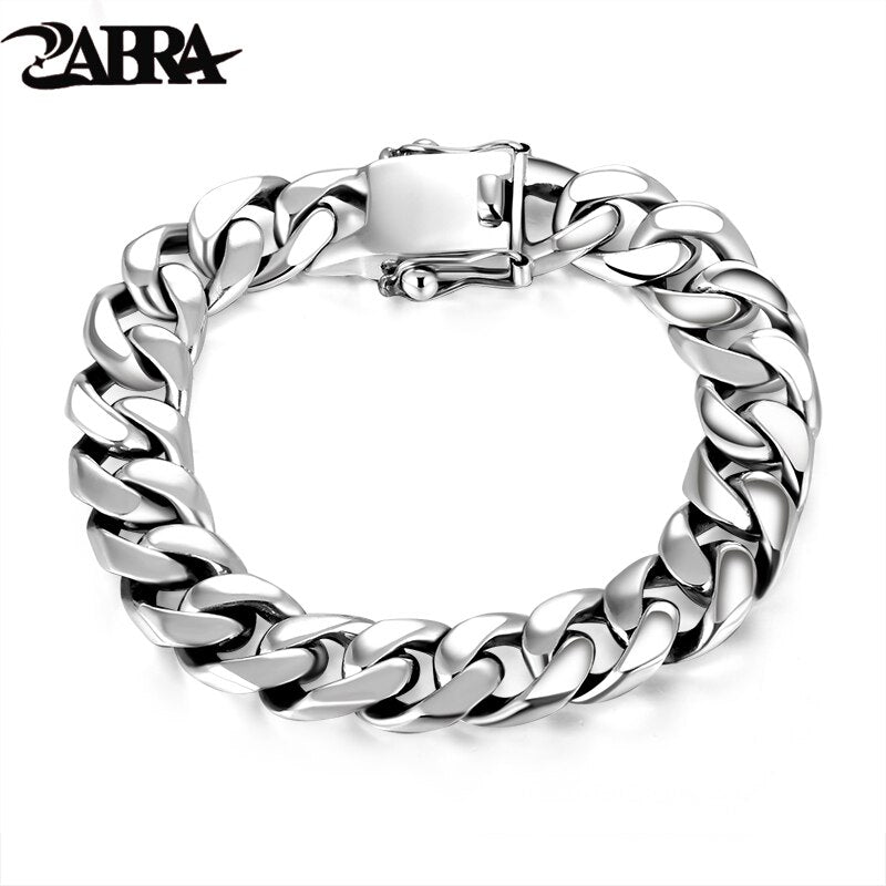 ZABRA Luxury 925 Sterling Silver Bracelets Man High Polish Curb Link Chain Bracelet for Men Vintage Punk Rock Biker Mens Jewelry