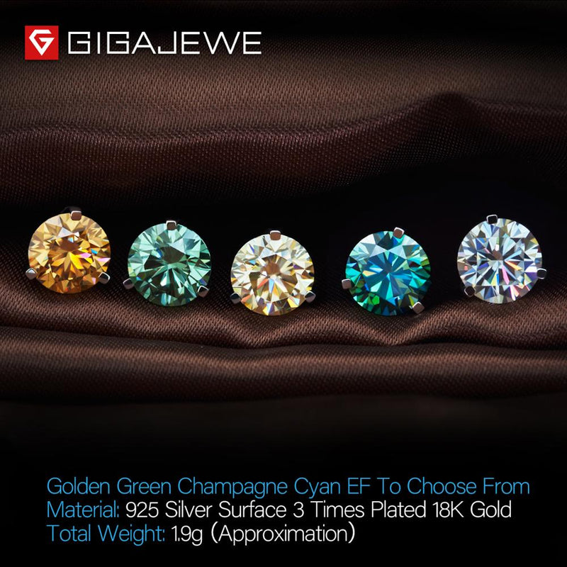 GIGAJEWE Total 3ct EF VVS1 Diamond Test Passed Moissanite 18K White Gold Plated 925 Silver Earring Jewelry Woman Girlfriend Gift