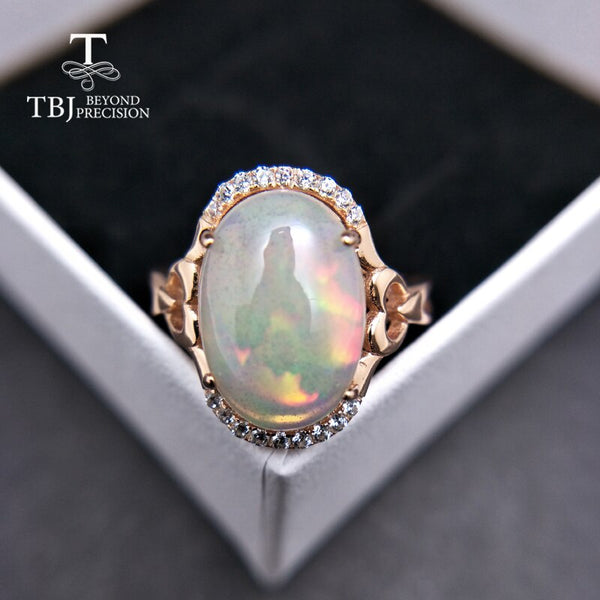 TBJ,Unique natural big ethiopian opal oval 10*14mm 5ct up opal women ring in 925 sterling silver fine jewelry for women as gift