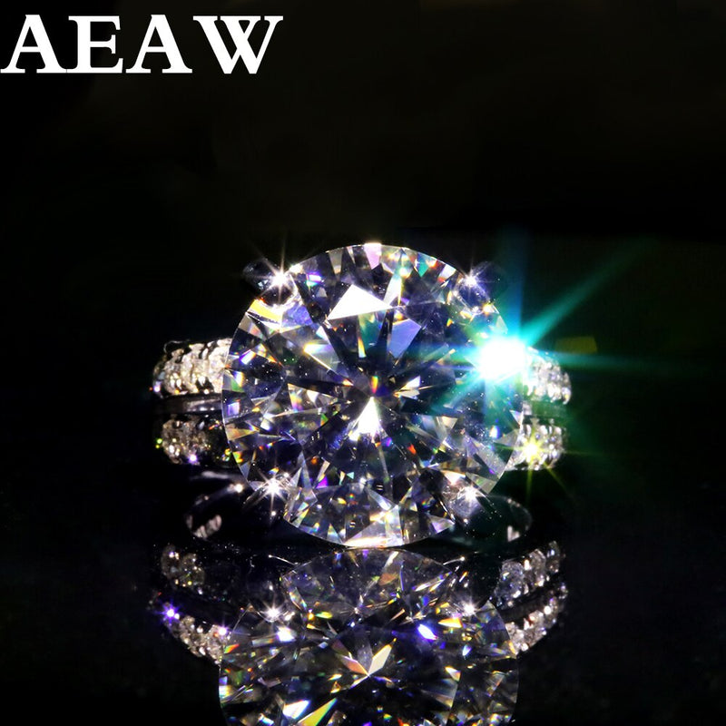 AEAW 10k White Gold Or Silver 10ct 5carat Diameter GH Color Moissanite Wedding Engagement Ring For Women Solitare Ring Gold
