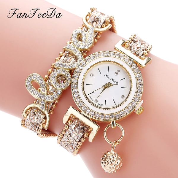 FanTeeDa Top Brand Women Bracelet Watches Ladies Love Leather Strap Rhinestone Quartz Wrist Watch Luxury Fashion Quartz Watch