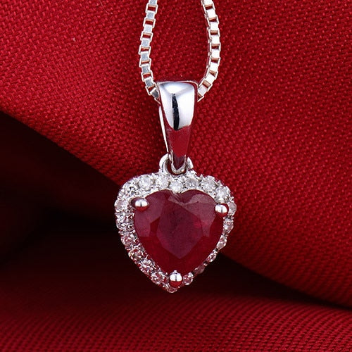 LOVERJEWELRY Solid 18K White Gold Diamond Red Ruby Heart Pendant Necklace Without Necklace Chain FREE SHIPPING
