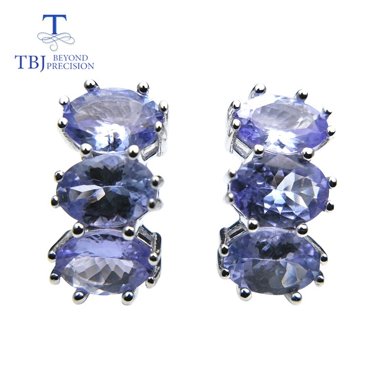 TBJ,Small romantic earrings with natural tanzanite gemstone in 925 sterling silver lovely Valentine gift for women lady gift box