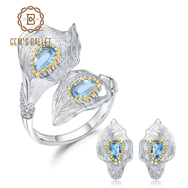 GEM'S BALLET 3.02Ct Natural Swiss Blue Topaz 925 Sterling Silver Handmade Calla lily Ring Earrings Jewelry Sets For Women Party