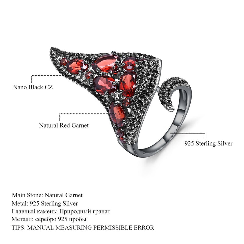 GEM'S BALLET 100% 925 Sterling Silver Gothic Vintage Jewelry Sets For Women Natural Red Garnet Drop Earrings Ring Set Fine Gift