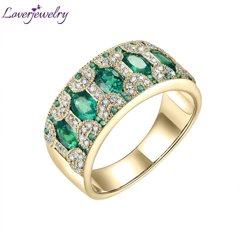 Rings For Women 18KT Yellow Gold Natural 1.5Ct Emerald Ruby Sapphire Genuine Diamonds Party Anniversary Ring Bands Gift Jewelry