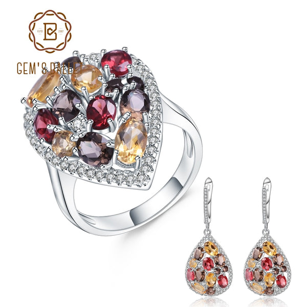 GEM'S BALLET Luxury 925 Sterling Silver Jewelry Set For Women Natural Smoky Quartz Citrine Drop Earrings Ring Set Fine Jewelry