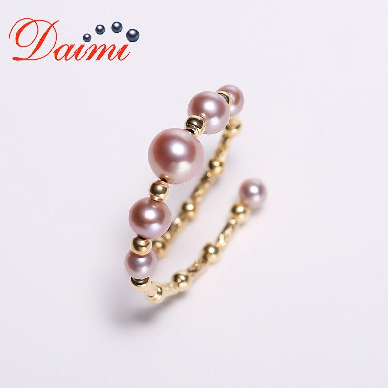 DAIMI Delicate Pearl Ring 18K Yellow Gold Ring Adjustale 5-5.5mm White Stunning Perfectly Round Pearl Ring