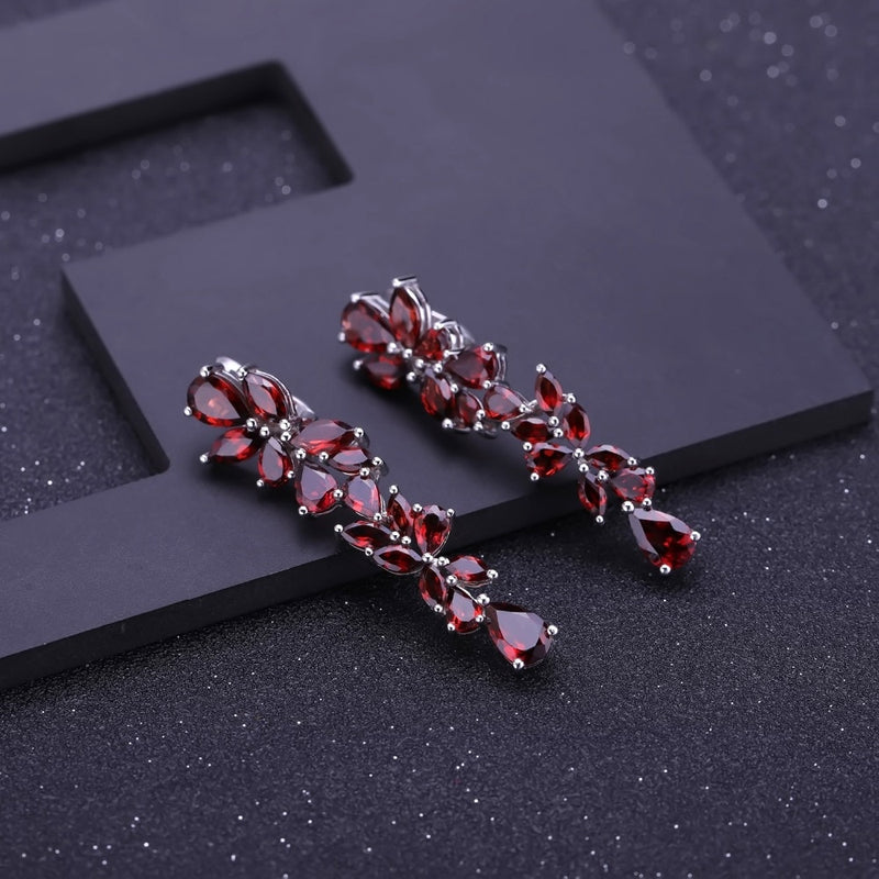 GEM'S BALLET 925 Sterling Sliver Leaves Elegant Drop Earrings For Women Engagement 20.35Ct Natural Red Garnet Earrings Jewelry