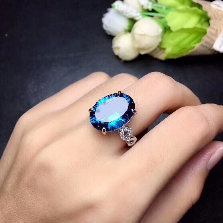 MeiBaPJ Natural London Blue Topaz Gemstone Trendy Ring for Women Real 925 Sterling Silver Charm Fine Jewelry