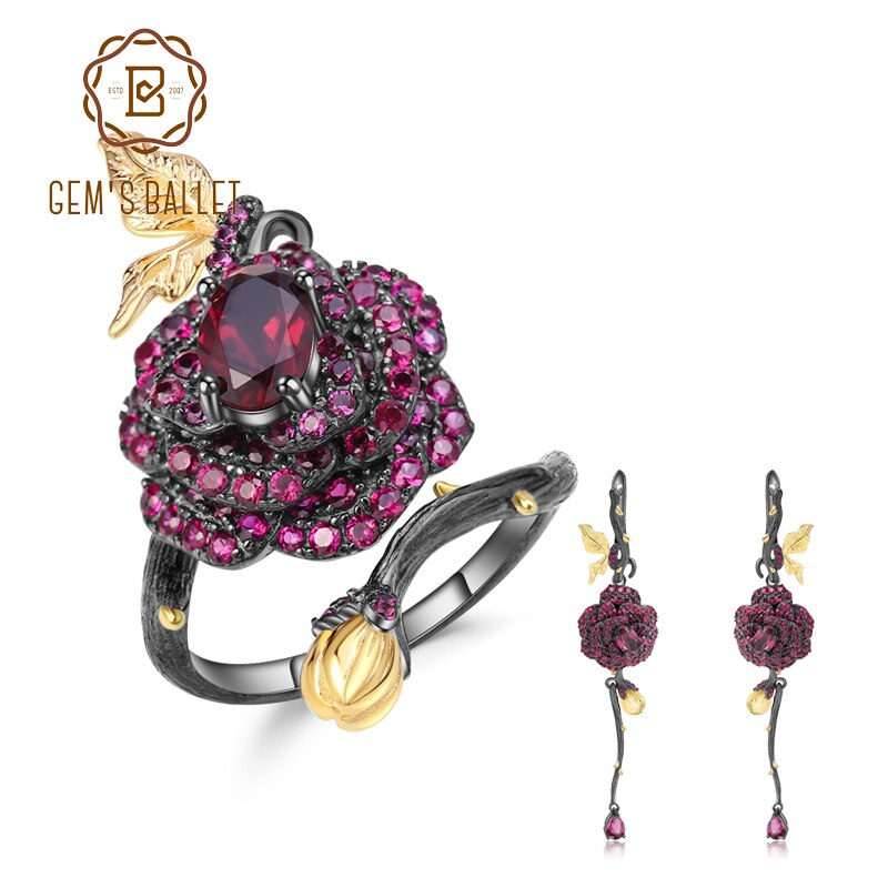 GEM'S BALLET Natural Rhodolite Garnet Handmade Rose Flower Jewelry Set 925 Sterling Silver Ring Earrings Jewelry Sets For Women