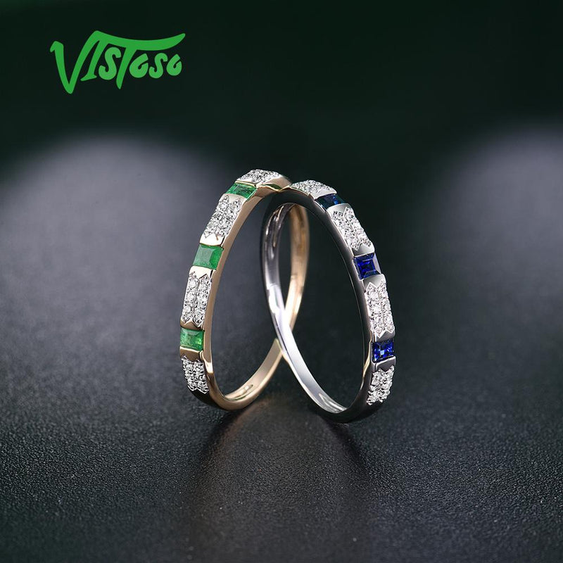 VISTOSO 14K Y/W Gold Rings For Women Genuine Shiny Diamond Fancy Blue Sapphire Emerald Engagement Anniversary Chic Fine Jewelry