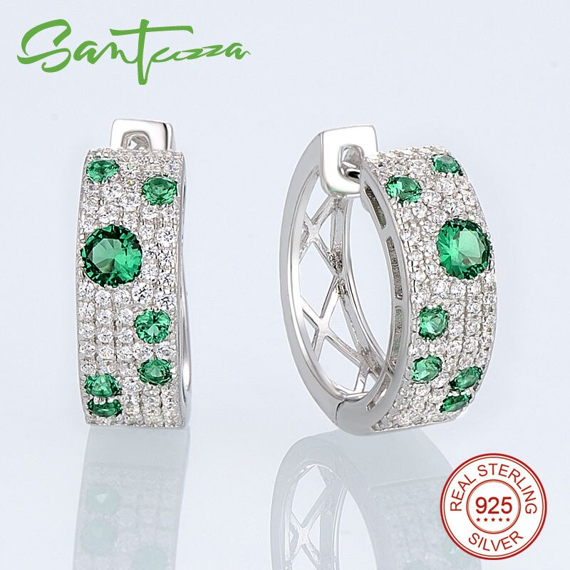 SANTUZZA Jewelry Set For Women Authentic 100% 925 Sterling Silver Shimmering Wish Green CZ Earrings Ring Set Fashion Jewelry