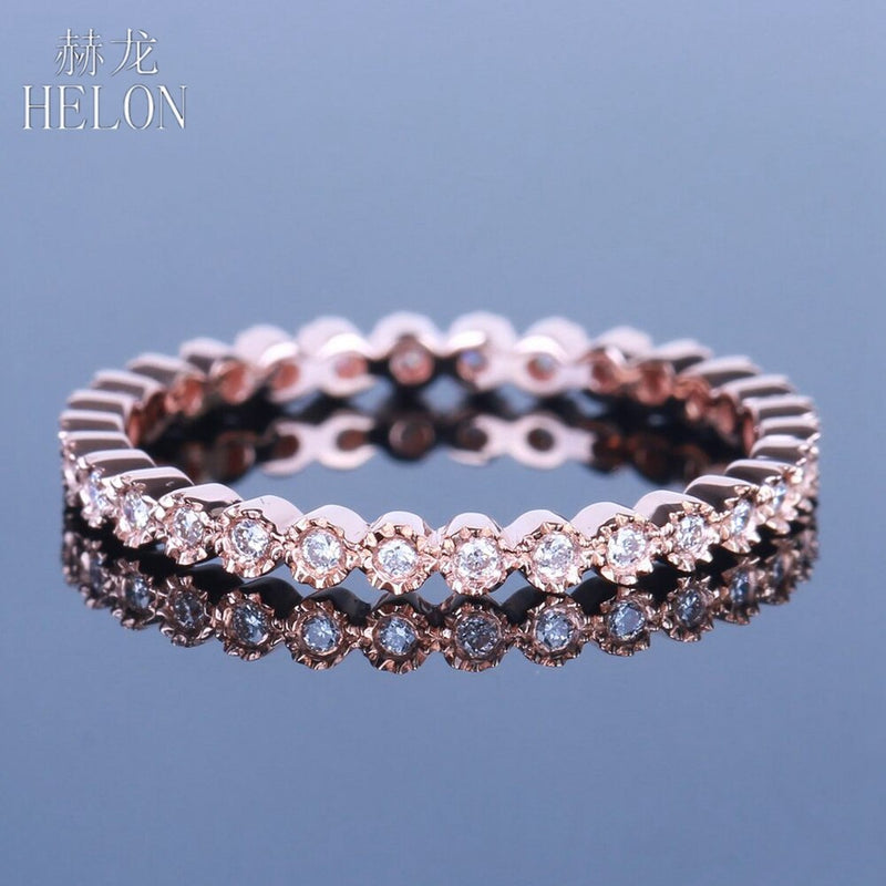 HELON Diamonds Band Solid 10K Rose Gold Milgrain Bezel 0.15ct Natural Diamond Engagement Wedding Ring Fine Jewelry Women's