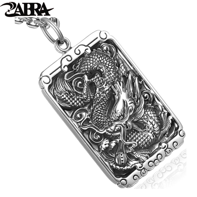 ZABRA 925 Sterling Silver 45*30mm Luxury Dragon Square Pendant Necklace For Men Carved Buddhism letter Vintage Biker Man Jewelry
