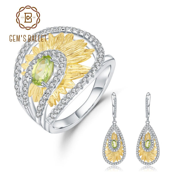 GEM'S BALLET 925 Sterling Silver Handmade Ring Earrings Sets 1.89Ct Natural Peridot Gemstone Sunflower Jewelry Set For Women