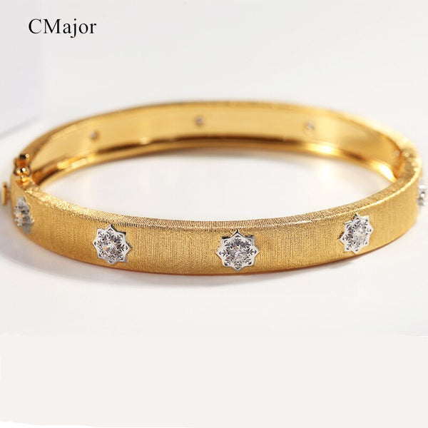 CMajor Sterling Silver Jewelry Gold Color Fashion Flower Bracelets 5mm Width Two Tone Bangle For Women