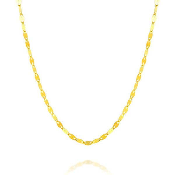 Solid AU750 18K Yellow Gold Necklace Women's Lips Link Chain Necklace 1.3mm P6245
