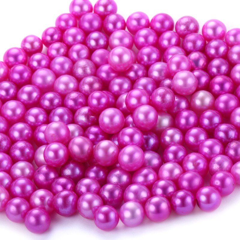 6-8mm Natural Colorful Freshwater Pearl,Fine Near Round Dyed Pearl Beads Jewelry,Oyster Pearl DIY Strong Light High Luster