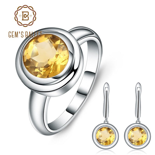 GEM'S BALLET Natural Citrine Classic Jewelry Set 925 Sterling Silver Earrings Ring Set For Women Wedding Gift Fine Jewelry New