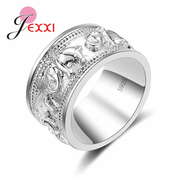 New Punk Tendy 925 Silver Ring For Lover Vintage Engagement Elephant Shape Steel Ring for Men & Women lord Wedding