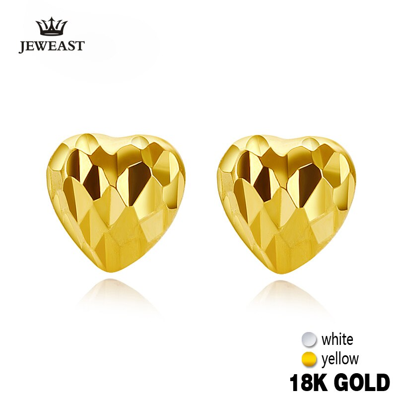 18k Pure Gold Earring White Rose Yellow Heart Fine Classic Jewelry Women Mother Girl Gift Trendy Hot Selling Party Discount New