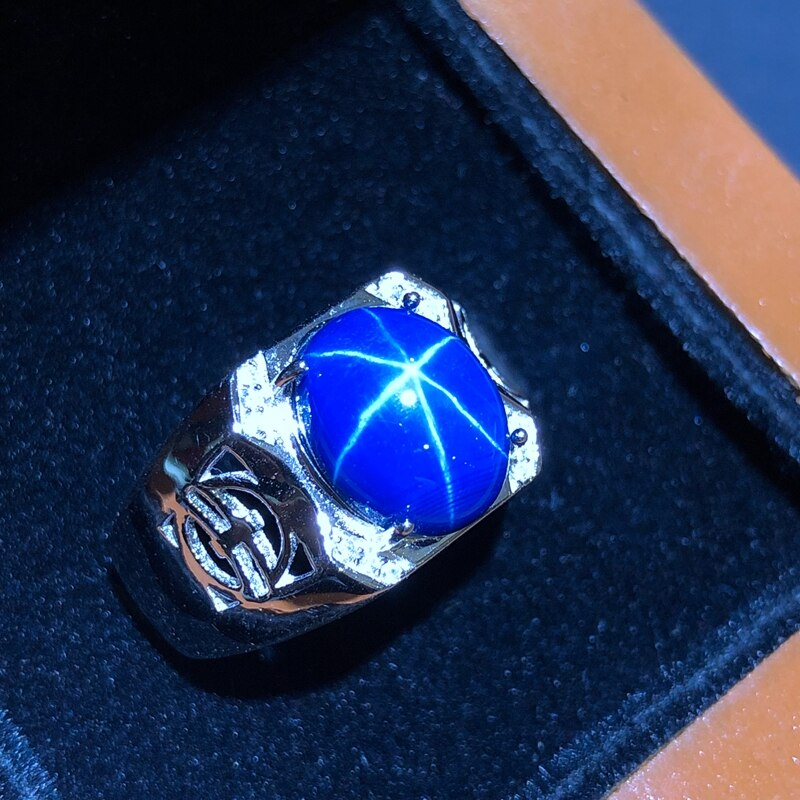 Starlight Sapphire Ring, Classic 925 Pure Silver Star Line Beautiful Mail Packing