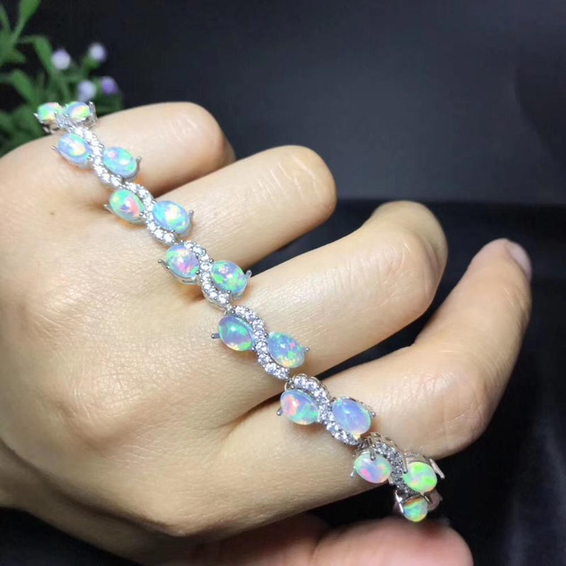 Natural opal bracelet, All kinds of fire colors are beautiful, 925 pure silver mosaic hot selling style, Ladies New Style