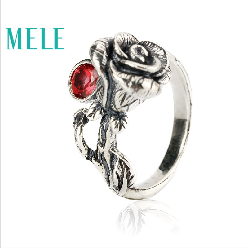 Natural Chinese Classical style silver 925 jewelry.Garnet Rose retro ring for women, Adjustable stereoscopic engraving,Glitterin