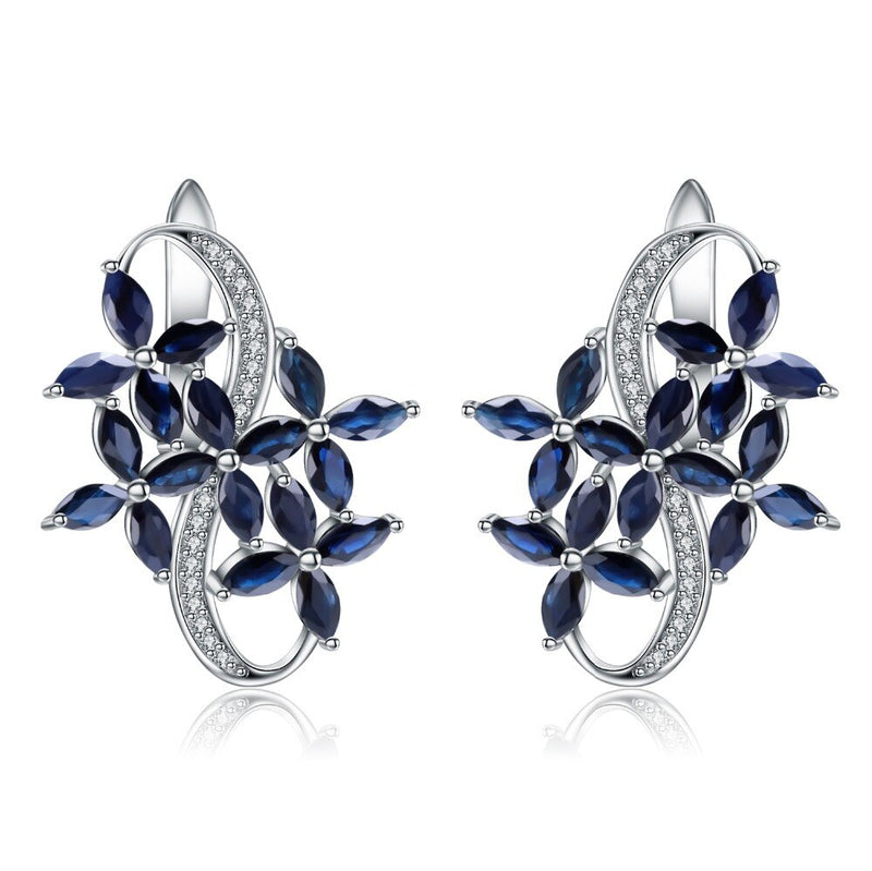 GEM'S BALLET 8.71Ct Natural Marquise Blue Sapphire Gemstone Elegant Stud Earrings 925 Sterling Silver Fine Jewelry for Women