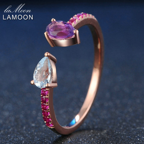 LAMOON 925 Sterling Silver Ring Topaz Amethyst Gemstone Ring 18K Rose Gold Plated Fine Jewelry TearDrop Womens Jewellery LMRI043