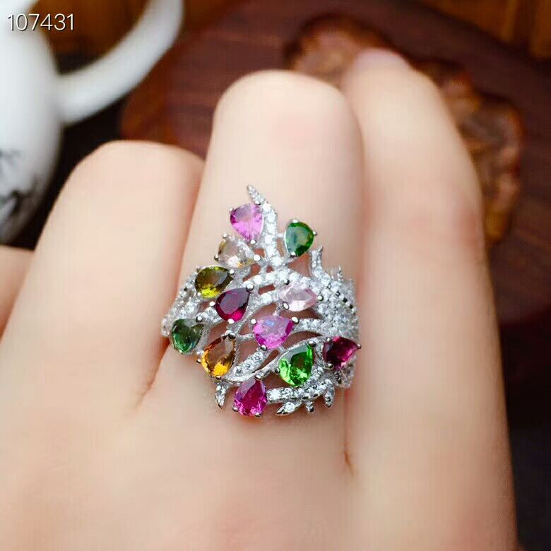 [MeiBaPJ Natural Tourmaline Gemstone Fashion Colorful Stone Flower Ring for Women Real 925 Sterling Silver Charm Fine Jewelry