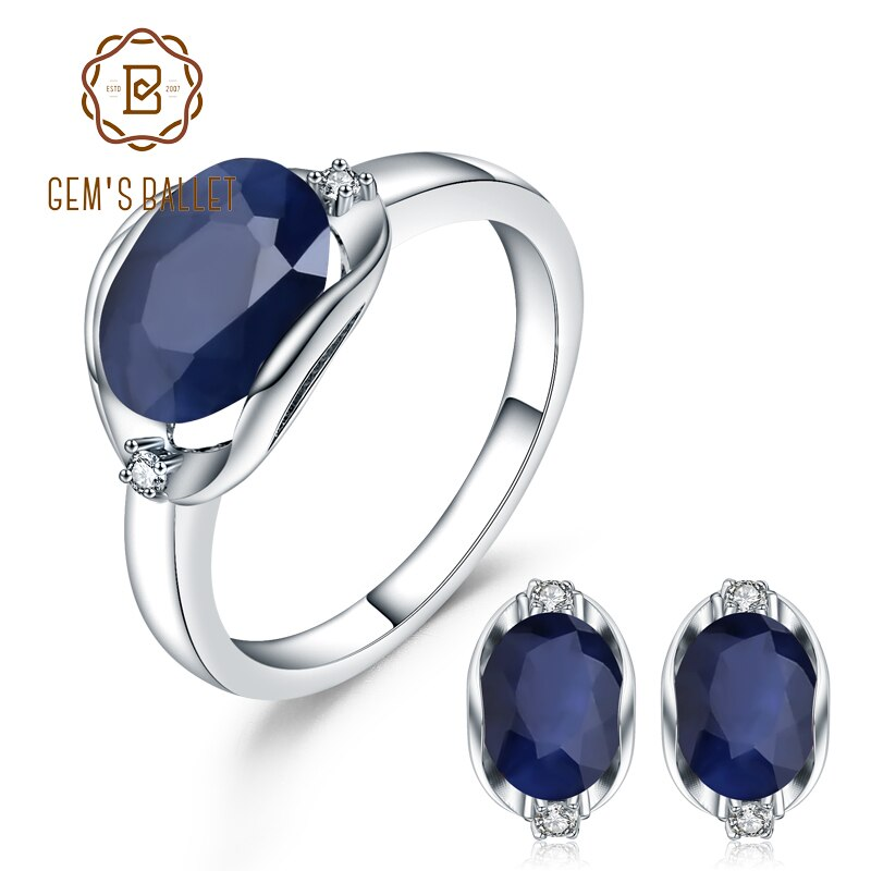 GEM'S BALLET Natural Blue Sapphire Gemstone Ring Earrings Jewelry Set For Women 925 Sterling Silver Gorgeou Engagement Jewelry