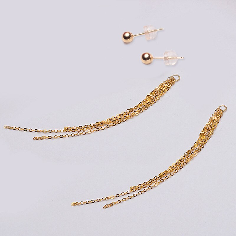 Classic Minimalist Ball 18K Gold bead Tassel Stud Earring for women girls Diameter 3 4 5mm optional real Au 750 stud earring