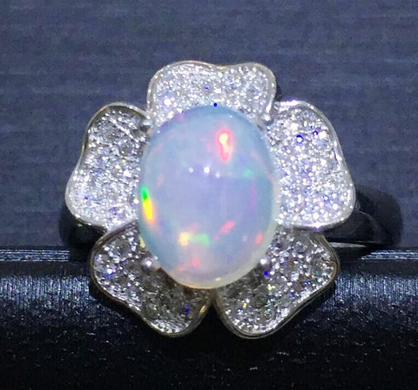 Natural real opal flower ring 925 sterling silver 1.1ct gemstone For women or men Finger rings Fine jewelry B5041511