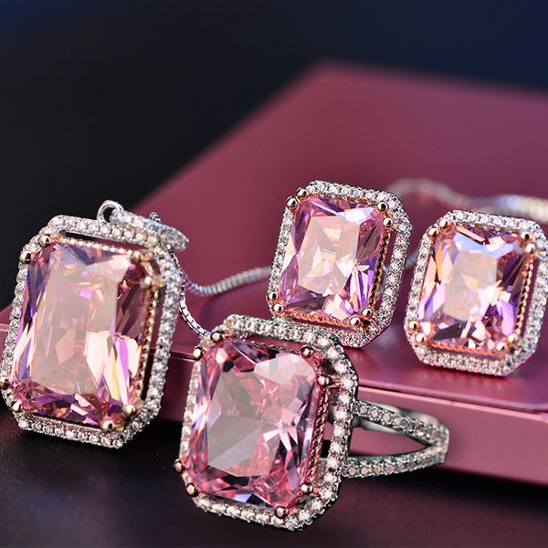 Top Quality 925 Silver Jewelry Sets Pink Quartz Cubic Zircon Ring Earrings Pendant Necklace Jewelry Set Wholesale Fine Jewelry