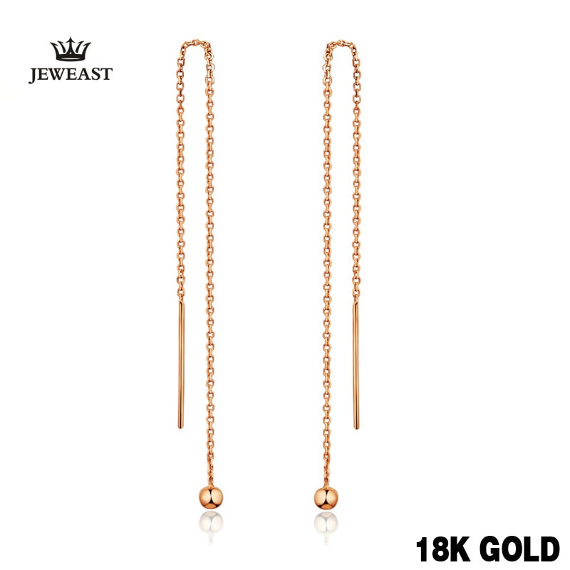 18k Pure Gold Drop Earrings Simple Classic Tasteful Vintage Charm Real 750 Solid Good Fine Party Discount Women Girl Like Gift