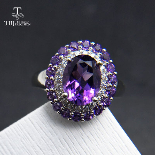 TBJ, Natural Amethyst Ring 3ct oval 7*9mm Brand Jewelry Ladies 925 sterling silver high quality engagement gift Ring anniversary