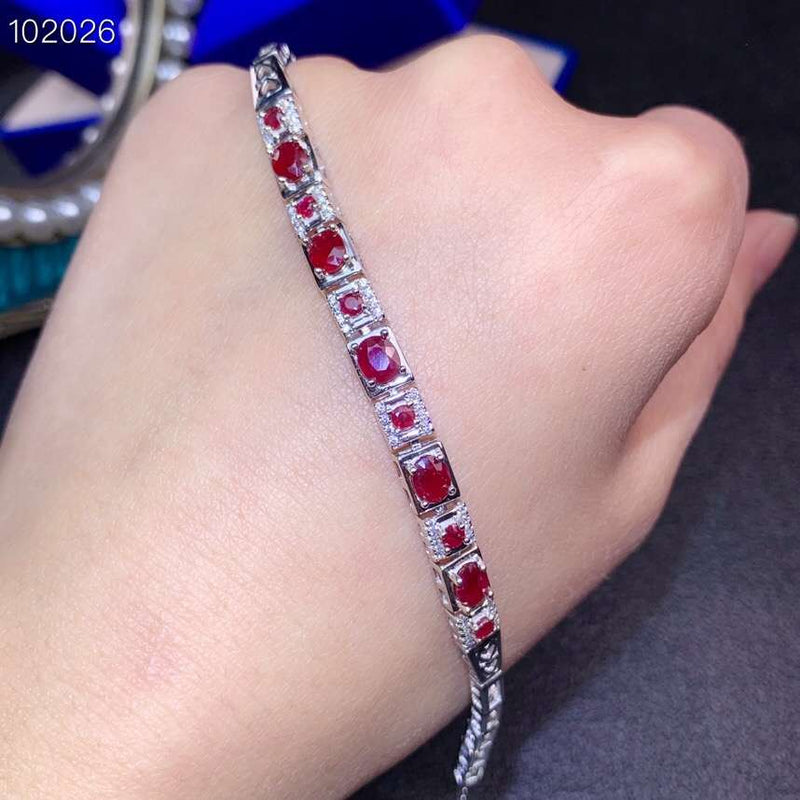 exquisite ruby bracelet red ruby gemstone bracelet women silver jewelry fine present real natural gem good color birthday gift