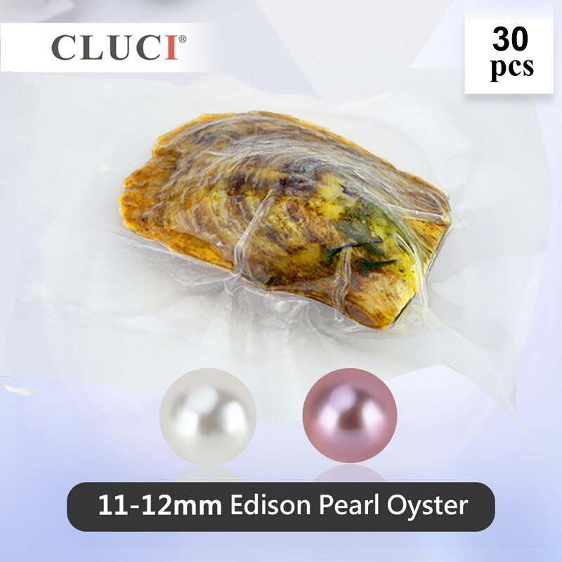 CLUCI 30 Pcs 11-12mm Big Edison Pearls in Oysters Round Single Packaged Genuine Edison Pearl Beads Edison Pearl Oyster WP353SB
