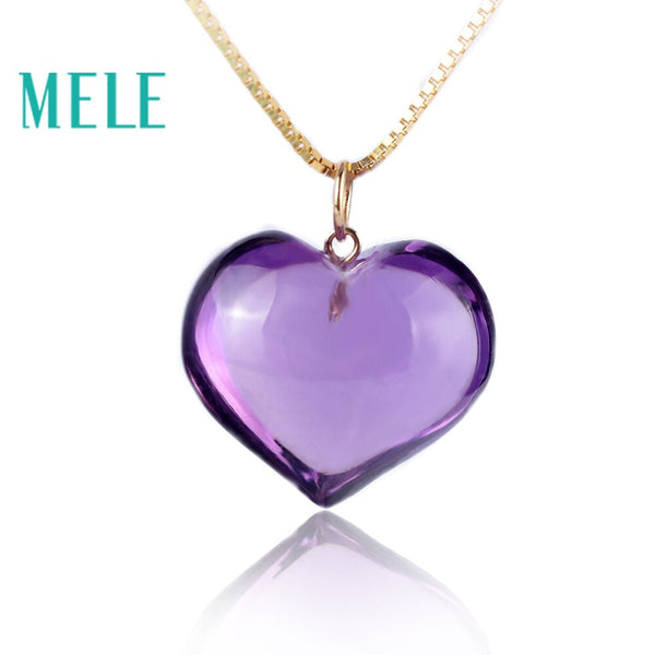 Natural amethyst real 18K gold heart cut pendant for women and man,fashion and simple fine gemstone jewelry with high quality
