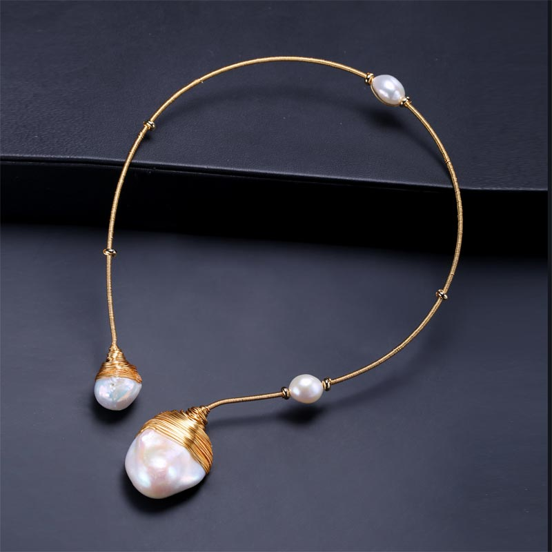 DAIMI Gold & Pearl Collar Unique Luxury Jewelry Designs Baroque Pearl Necklace 41-43cm Choker Torques New Style
