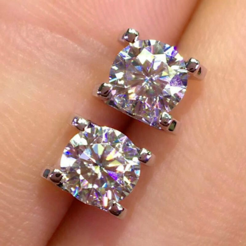 D Color Moissanite Stud Earrings S925 Sterling Silver Earrings 1ct Carat Vvs1 Clarity 4 Claw Moissanite with GRA Certificate