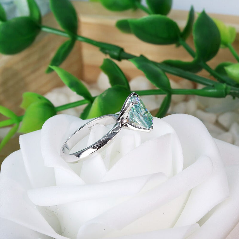 Green Blue Cushion cut Moissanite Centre Stone 3ct 2ct Moissanite Engagement Ring Silver
