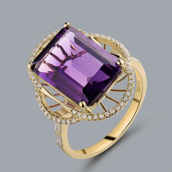 Natural Amethyst Ring Emerald Cut 10x14mm Solid 14Kt Yellow Gold Baguette Diamond Purple Amethyst Engagement Rings For Sale