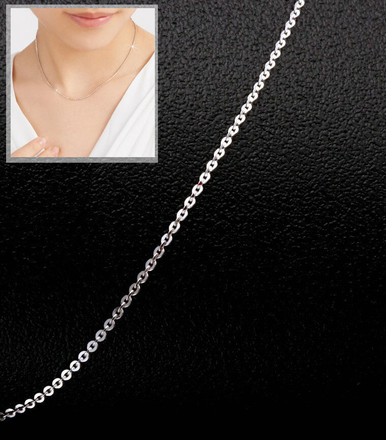 Delicate PT950 Platinum Real White Solid Gold Clavicle O Link Cable Chain Necklaces for Women 43cm/ 45cm Wedding Jewelry Gift